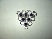 Vintage SARAH COVENTRY Silvertone & Black Crystal Abstract Brooch Pin