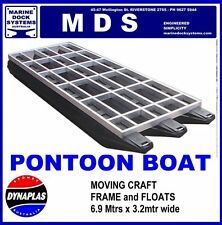 6.9m x 3.2m PONTOON BOAT BBQ WORK PLATFORM BARGE POLY FLOAT HULL ALUMINIUM FRAME