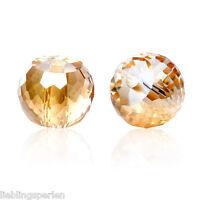 90 Glas Perlen Rund Champagner Transparent Facettiert Beads zum Basteln 8mm L/P