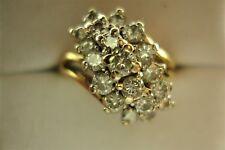 LADIES 1 CARAT DIAMOND WATERFALL RING 14K SZ 6.25
