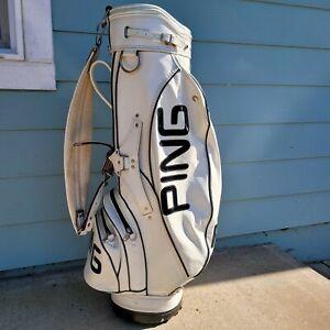 PING leather golf bag, white leather, many pockets, 4 hole organizer