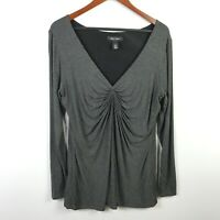 White House Black Market Womens V-Neck Knit Blouse Size L Ruched Long Sleeve Top