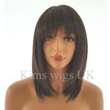 WOMENS LADIES FASHION HAIR WIG  BLACK/DARK BROWN RAZOR CUT SHOULDER LENGTH #2 UK