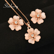Charm Opal Plum Flower Necklace Earrings Sets 18K Rose Gold Brand Jewelry 2017
