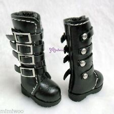 "Mimi Collection 12"" Blythe Pullip Momoko Obitsu 1/6 bjd Shoes Buckle Boots BLACK"