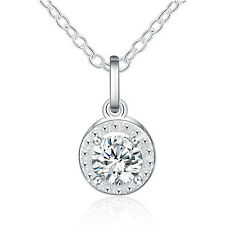 CHEAP Women White Crystal Rhinestone Silver Charm Chain Pendant Necklace Jewelry