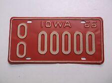 1966 Iowa SAMPLE zero LICENSE PLATE Auto Tag Old Car Truck YOM Gas Oil Sign