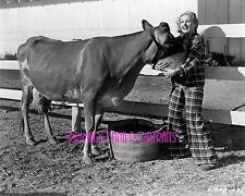CAROLE LOMBARD & COW 8X10 Lab Photo 1930s RARE Personal Pet Cow Candid Portrait
