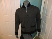 Mens Med Abercrombie & Fitch Varsity Cardigan Sweater NWT Herringbone Black/Gray