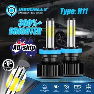 6-side H11 LED Headlight Light Bulbs 2800W 6500K White Bright Globe Beam Lamps