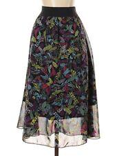 Lularoe Lola Skirt Feather Print Black Multi-Color Size Small S EUC