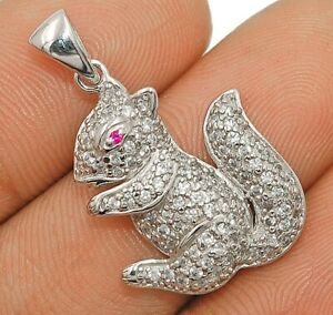 Chipmunk Pink Sapphire & Topaz 925 Solid Sterling Silver Pendant Jewelry