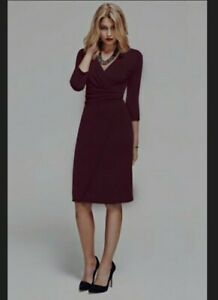 HotSquash Womens Smart Work Party Ascot Mock-Wrap Dress Burgundy Size 18~New