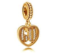 New Genuine PANDORA 60 Years of Love Pendant Charm 14K Gold Vermeil 797265CZ