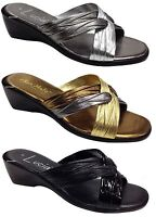 Boulevard X Over Mule Sandal Wedge Mule Italian Made Summer Silver Fashion Shoes