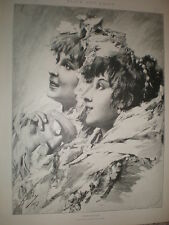 UNMASKED dal dipinto di (Enrico) gamba 1893 Old print