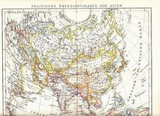 1899 Asia - Political Overview Map China, Russia, Japan, etc. Antique Map