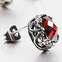 silver earring stainless steel red crystal SINGLE vintage style stud