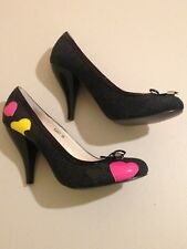 "1001 Shoes Womans Black Size 38 Hearted High Heels 3"" Heel"