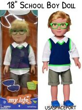 """18"""" Doll Blonde Hair SCHOOL BOY +Glasses Outfit Set for My Life as American Girl"""
