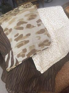 Macys Queen Dust Ruffle Sham Flat Sheet Sarfari Print New