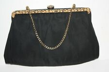 Vintage Black 50's Evening  Clutch Gold Tone Metal Frame w/Pearls