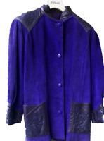 Rare Veste 3/4  femme cuir et  daim T46 48 bleu violacé  etat comme neuf