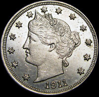 1911 Liberty V Nickel US Coin ---- GEM BU++ Condition ---- #G317