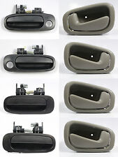 SET OF 8 PCS Outside & Inside Door Handle BLACK/GRAY for 98-02 TOYOTA COROLLA