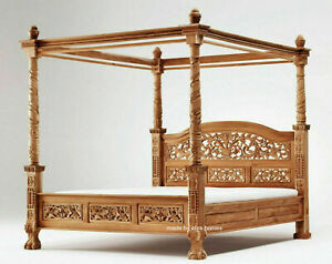 """USA Queen 60""""x80""""  Teak Wood  French style Four poster floral canopy bed not oak"""