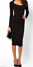 Womens Ladies Long Sleeve Jersey Plain Stretch Bodycon Maxi Midi Dress Plus Size