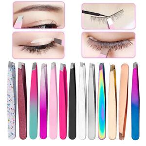 Makeup Eyebrow Tweezer Stainless Steel Facial Hair Remove Slanted Flat Tip Clip