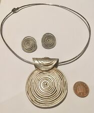 Unusual Vintage Aztec Designer British Hallmarked Silver Necklace And Earrings