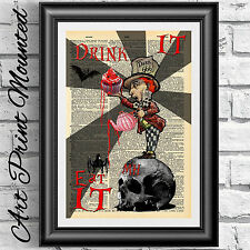 Art print dictionary Mounted Gothic Alice in Wonderland Steampunk Mad Hatter