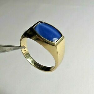 VINTAGE MEN'S 14K S SOLID GOLD STAR SAPPHIRE STONE HEAVY RING 7.52gr  SZ: 10.