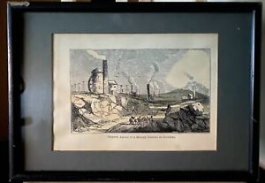 Rare Antique Framed Hand Coloured Etching Mining District Cornwall Whimpler