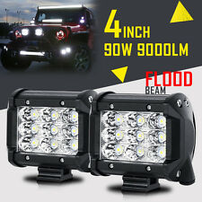 "2PCS TRI-ROW 4"" 90W CREE LED WORK LIGHT BAR PODS FLOOD OFF ROAD PICKUP REAR ATV"