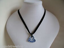 New Necklace of Vintage Blue & White Willow China Heart on Black Velvet Necklace