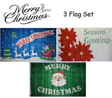 3x5 Merry Christmas 3 Flag Wholesale Set #10 3'x5' House Banner Grommets