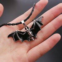 Black Retro Gothic Enamel Bat Leather Rope Necklace Punk Halloween Jewelry Gifts