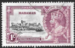 BAHAMAS 1935 1s Jubilee with 'broken flagstaff' variety, used. SG 144 variety.