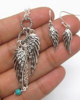 Silver Angel Wings Turquoise Bead Long Necklace Earrings Set FAST SHIP USA