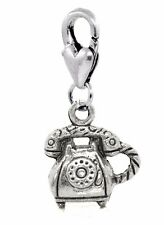 Telephone Retro Rotary Dial Corded Phone Lobster Clip Dangle Charm for Bracelets