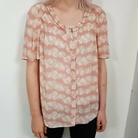 Boden Pink Floral Top Size 12 UK Womens Ladies Daisy Ruffle Neck