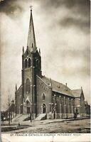 VINTAGE POSTCARD ST. FRANCIS CATHOLIC CHURCH AT PETOSKEY MICHIGAN WEAK CORNER