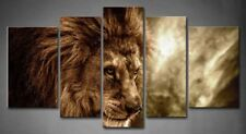 Framed Wall Art Brown Lion Stormy Sky Painting Canvas Print Animal Pictures