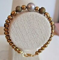 "Grey Freshwater Pearl and Gold Coated Hematite Bead 7.25"" Threaded Bracelet"