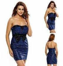 Sz 8 10 Blue Black Leopard Strapless Dance Party Clubwear Cocktail Formal Dress