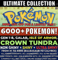Pokemon Home 6000+ Pokemons, Sword & Shield CROWN TUNDRA, GEN 1-8 FULL POKEDEX !