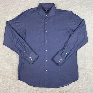 Hugo Boss Dress Shirt Mens 16.5 42 Long Sleeve Regular Fit Egyptian Cotton Blue